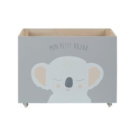 image-Grey Wheeled Toy Chest with Koala Print