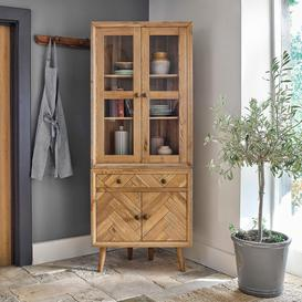 image-Brushed and Glazed Solid Oak Dressers - Corner Dresser - Parquet Range - Oak Furnitureland