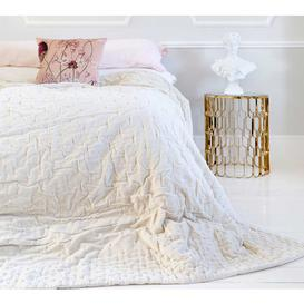 image-Plushious Ivory Cotton Velvet Quilted Bedspread - Luxurious...