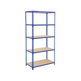 image-Rapid 2 Shelving With 5 Chipboard Shelves 915wx1600h (Blue), Blue, Free Next Day Delivery