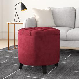 image-Dalton Storage Ottoman Hykkon Upholstery Colour: Red Velvet