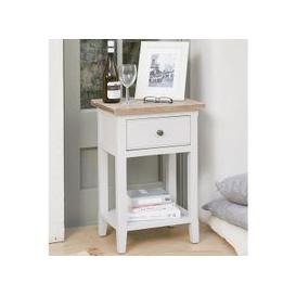 image-Krista Wooden Lamp Table In Grey With 1 Drawer