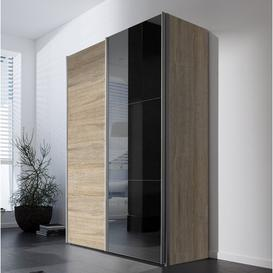 image-Mueller 2 Door Sliding Wardrobe Ebern Designs Colour: Sonoma Oak / Grey Mirror