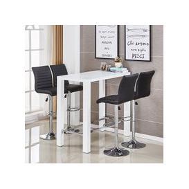image-Jam Glass Bar Set Rectangular White Gloss 4 Ripple Black Stools