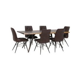 image-Vega 200cm Dining Table and 6 Hix Chairs, Brown