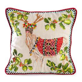 image-MacKenzie-Childs - Santa's Reindeer Pillow