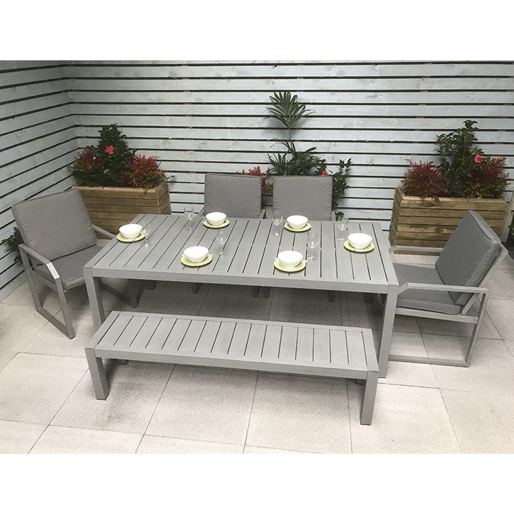 image-Signature Weave Garden Furniture Alarna Bench Dining Set