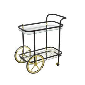 image-Gelmen Serving Cart Fairmont Park Frame Colour: Black/Gold