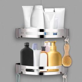 image-Rebrilliant Bathroom Corner Shelves, 2 Pack Stainless Steel Corner Shower Caddy With 2 Hooks Wall Mounted For Bathroom Toilet Kitchen Organizer Storag