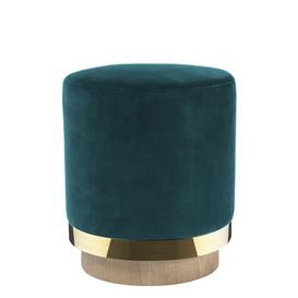 image-Pouf - / Velvet by RED Edition Natural oak,Brass,Peacock blue