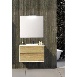 image-Dulaney Bathroom 900mm Wall Hung Single Vanity Unit Ebern Designs Vanity Base Colour: Light Oak