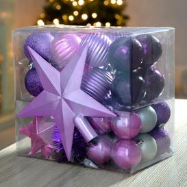 image-42 Piece Shatterproof Christmas Tree Ball Ornament Set Three Posts Colour: Purple/Pink/Slver