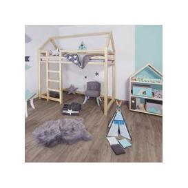 image-Benlemi Nesty Loft Bed - Transparent Wax Finish