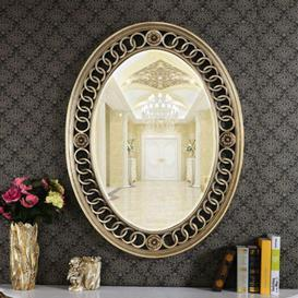 image-Caterina Boucle Oval Glass Mirror