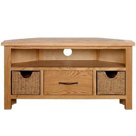 image-Sidmouth Oak Corner TV Stand Light Brown / Natural