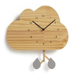 image-Habitat Kids Wooden Cloud Wall Clock - Light Wood
