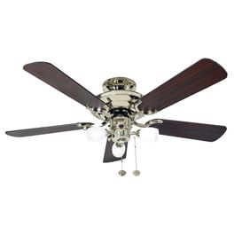 image-Fantasia 115502 Mayfair 42 In Ceiling Fan In Polished Brass With Dark Oak Blades And Light