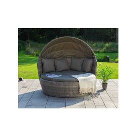 image-Venice Rattan Garden Day Bed in Grey