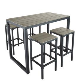 image-Aluminium Garden Bar Table with 4 Stools L128