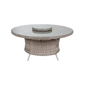 image-Large Round Rattan Garden Dining Table with Lazy Susan in Grey
