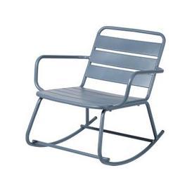 image-Blue Grey Metal Outdoor Rocking Chair Batignolles