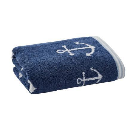 image-Anchor Motif Navy Hand Towel Navy (Blue)