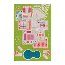 image-IVI World - Children's 3D Play Rug - Green Play House - 134x200cm