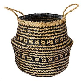 image-Small Seagrass Tribal Black Lined Basket Black