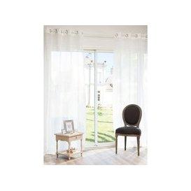 image-Single Ecru Linen Eyelet Curtain 140x250
