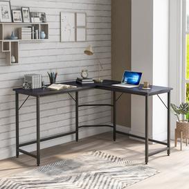 image-L-Shaped Computer Desk Office Desk Corner Desk Laptop Study Workstation Large PC Gaming Desk Home-Office Table 128X120x76.5Cm,Black