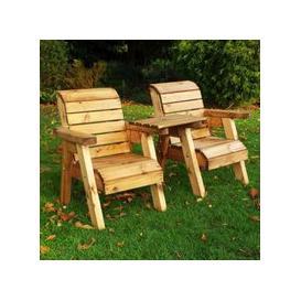 image-Little Fellas 2 Seat Straight Redwood Kids Twin Companion Garden Seat