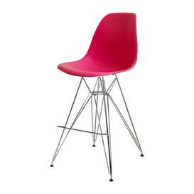 image-Designer Plastic Bar Stool Bright Pink  Chrome Legs