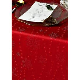 image-Christmas Snowflake Tablecloth Diana Cowpe Size: 137cm W x 229cm L, Colour: Red