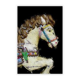 image-'Vintage Rocking Horse in Abstract' - Unframed Painting Print on Paper East Urban Home Size: 29.7 cm H x 21 cm W