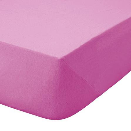 image-Kids Non Iron Plain Dye Fuchsia Cot Bed Fitted Sheet Bright Pink