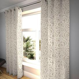 """image-Little Leaf Pale Beige Curtains, 473cm(w) x 412cm(d) (186"""" x 162"""")"""