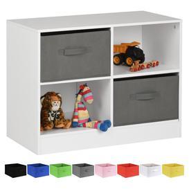 image-Hartleys White 4 Cube Kids Storage Unit & 2 Handled Box Drawers - Grey