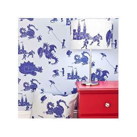 image-Designer Kids Wallpaper- 'Ere-Be-Dragons' in Blue