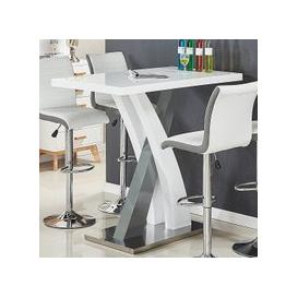 image-Axara Bar Table Rectangular In White And Grey High Gloss
