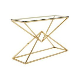image-Armenia Glass Console Table With Champagne Gold Steel Frame