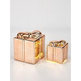 image-Festive Set Of 2 Parcel Light Up Christmas Decorations - Rose Gold