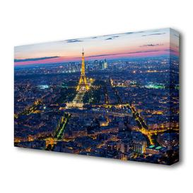 image-'Eiffel Tower Night Light Paris' Photographic Print on Canvas East Urban Home Size: 50.8 cm H x 81.3 cm W