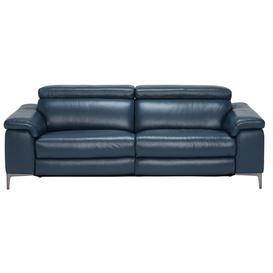 image-Paolo Leather 3.5 Seater Recliner Sofa, Melbourne Navy Blue M5661