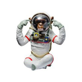 image-Monkey Astronaut Figurine Hear No Evil Resin Sculpture