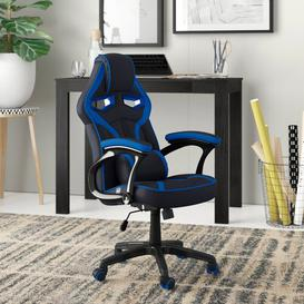 image-Silvia Recliner Gaming Chair Zipcode Design Colour (Upholstery): Blue