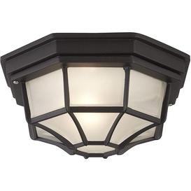 image-Traditional Style Black Outdoor IP54 Flush Porch Ceiling Lantern Light
