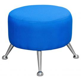 image-Gabriella Blue Fabric Pouffe With Chrome Rounded Feet