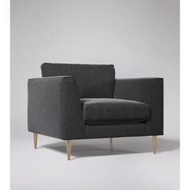 image-Swoon Nero Armchair in Anthracite Smart Wool With Light Feet