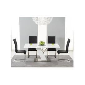 image-Mark Harris Portland White High Gloss 160cm Dining Set - 4 Black Malibu Chairs