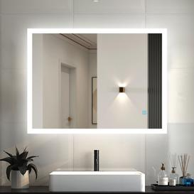 image-1200X700 Large Rectangular Heated Bathroom Mirror With Touch Lights,Wall Mounted,IP44,Vertical Or Horizontal